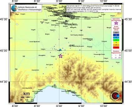 Mappa preliminare degli effetti del terremoto ML 3.8 delle 12:36 (ora italiana) tratta dall'elaborazione dei questionari inviati al sito www.haisentitoilterremoto.it