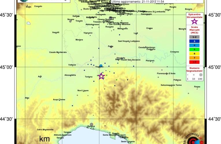 Eventi sismici tra le province di Alessandria e Pavia del 21 novembre
