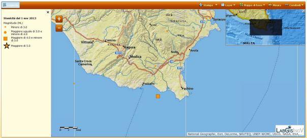 Il quadrato rappresenta la localizzazione del terremoto di questa mattina alle ore 04:57 nel Golfo di Noto - Capo Passero.