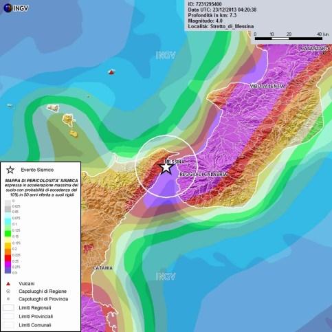 Localizzazione evento sismico del 23 dicembre alle