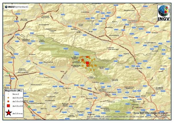 Localizzazione degli eventi avvenuti oggi tre le province di Caserta e Benevento.