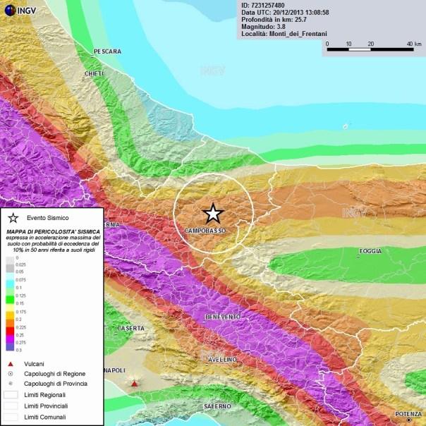Epicentro del terremoto di M3.8 (stella) e carta di pericolosità
