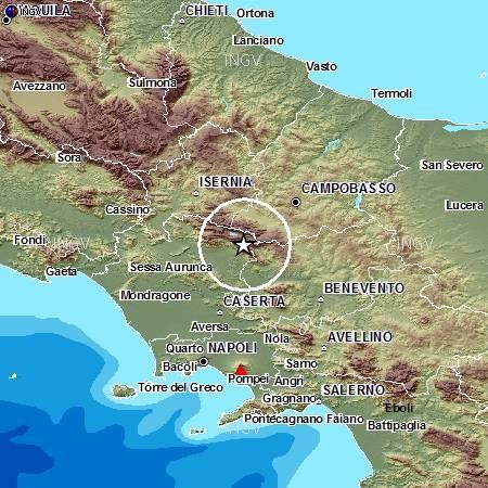 Evento sismico ML 4.2 tra le province di Caserta e Benevento, 20 gennaio