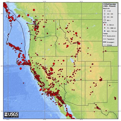 Epicentri dei terremoti negli USA occidentali dal 1900 a oggi (fonte: USGS)