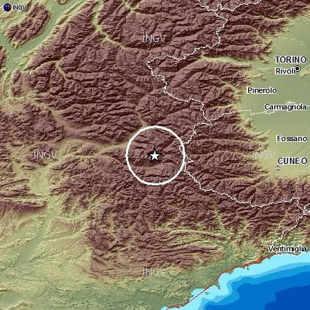 Evento sismico nelle Alpi Cozie, M 5.0, 7 aprile 2014