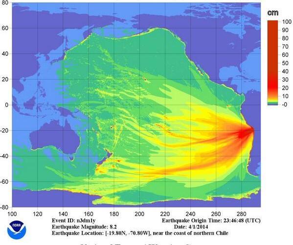 Sequenza sismica nel Cile settentrionale, aprile 2014