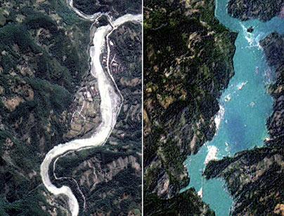 Una delle molte frane che hanno ostruito il corso di un fiume creando un lago