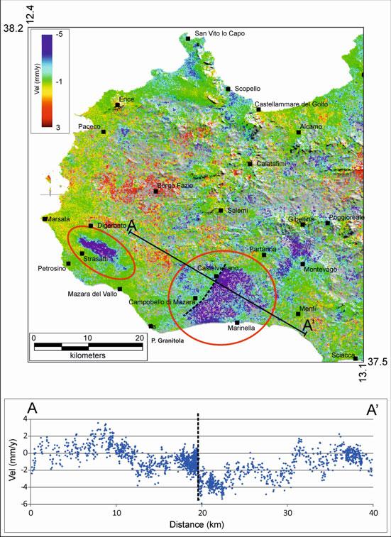 Figura 1: Immagine SAR dell'area della Sicilia Occidentale in cui è nettamente visibile la deformazione associata al movimento del tratto di faglia tra Campobello e Castelvetrano. L'altra area con marcate variazioni è associata ad un massiccio sfruttamento della falda acquifera in quella zona.