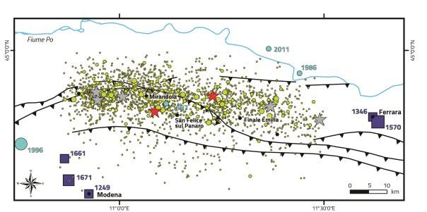 Figura 1. Localizzazione della sequenza Emiliana del 2012, e sismicità storica e strumentale nell'area. (modificato da EMERGEO W.G., NHESS, 2013).