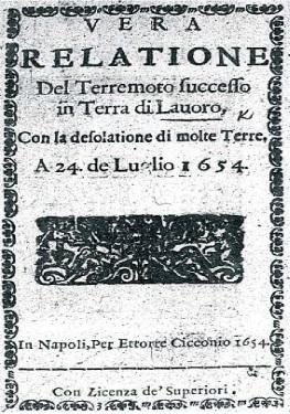 Frontespizio di una rara relazione giornalistica sul terremoto del 1654.