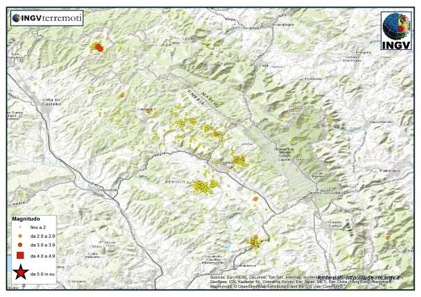 La sismicità nell'area di Gubbio durante il mese di ottobre.