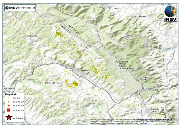 La sismicità nel Bacino di Gubbio nel mese di novembre.