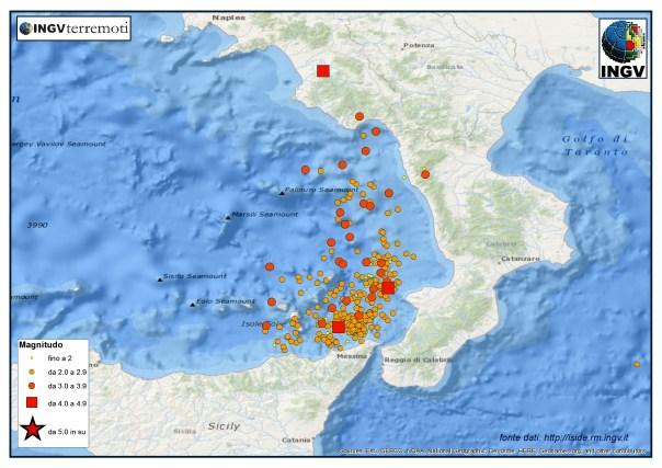 Terremoti profondi (>80 km) localizzati dalla RSN dell'Ingv nel 2014. Sono stati in tutto 324 di cui 33 con magnitudo superiore o pari a 3.