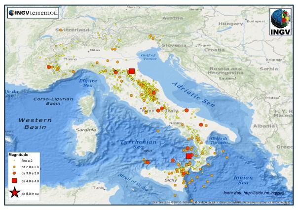 I terremoti registrati dalla Rete Sismica Nazionale dal 1 al 30 aprile 2015.