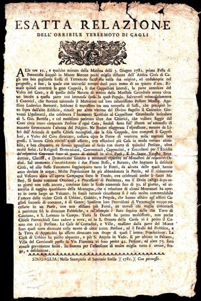Un foglio volante (un vero e proprio volantino dell'epoca) dedicato al terremoto del 3 giugno 1781.