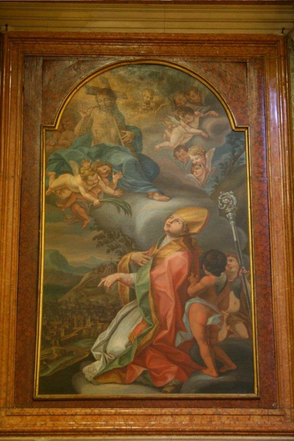 Dopo il terremoto del 1781 i cagliesi decisero di mettersi sotto la protezione di s. Emidio. Una pala d'altare collocata in cattedrale (navata laterale destra) lo raffigura mentre raccomanda la città a Gesù in gloria.