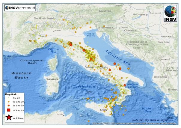 I terremoti registrati dalla Rete Sismica Nazionale nel mese di luglio 2015.