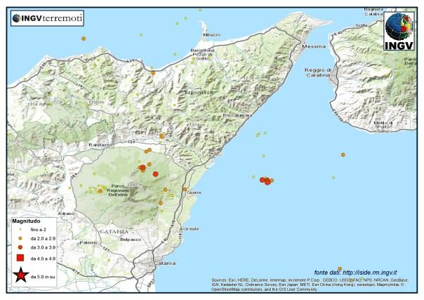 La sismicità nell'area della Sicilia nord-orientale durante il mese di dicembre.