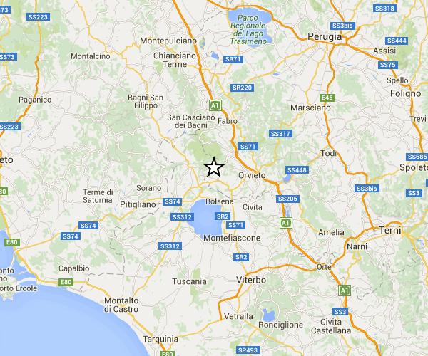 Evento sismico tra le province di Terni e Viterbo, Ml 4.1, 30 maggio ore 22:24