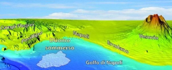 Fig. 1 Modello tridimensionale del Golfo di Napoli e delle aree emerse circostanti.