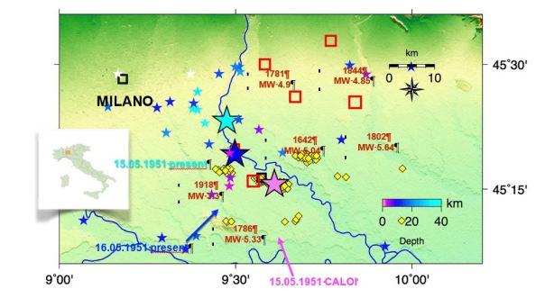 Figura 5: Le stelle piccole rappresentano la sismicità strumentale degli ultimi 30 anni con colori variabili secondo la profondità. I rombi gialli rappresentano i pozzi estrattivi dei campi di Caviaga e Ripalta, attivi all'epoca degli eventi. I quadrati rossi indicano la sismicità storica (CPTI11). Le stelle grandi fucsia, celeste e blu rappresentano rispettivamente le localizzazioni dei terremoti del 15 maggio 1951 di Caloi et al (1956) e del 15 e 16 maggio 1951 secondo Caciagli et al (2015).