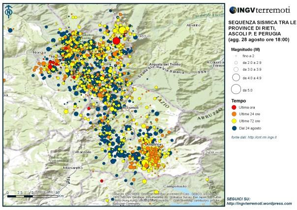 La mappa della sequenza aggiornata alle ore 18:00 del 28 agosto. In rosso gli eventi sismici dell'ultima ora tra i quali il terremoto di magnitudo 4.4 delle ore 17:55.