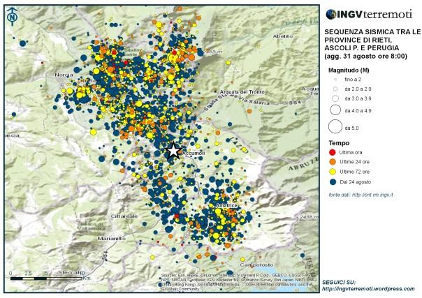 La mappa della sequenza aggiornata alle ore 8.00 italiane del 31 agosto.