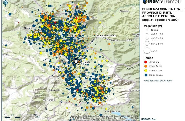Sequenza sismica province di Rieti, Perugia, Ascoli P., L'Aquila e Teramo: aggiornamento ore 08.00 – 31 agosto