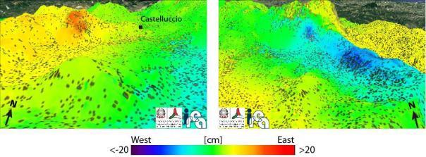 Figura 4: Dettaglio della mappa della componente est-ovest (Figura 2) per due aree interessate da spostamenti localizzati. A sinistra si evidenzia uno spostamento lungo est localizzato su un versante ad ovest dell'abitato di Castelluccio. A destra, invece è indicato il movimento verso ovest del versante ovest del Monte Vettore (si veda anche l'analisi dei dati del satellite COSMO-SkyMed in Figura 5).