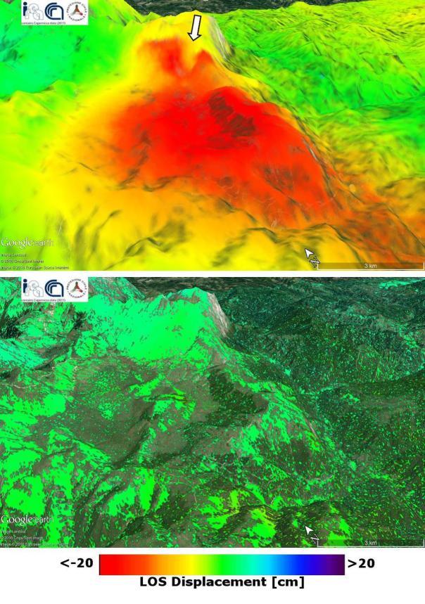 Figura 5: Mappa della deformazione co-sismica (in alto) ottenuta a partire dai dati radar satellitari acquisiti dalla costellazione COSMO-SkyMed, il 20 agosto 2016 (immagine pre-evento) e il 28 agosto 2016 (immagine post-evento). La freccia indica una deformazione localizzata in corrispondenza del fianco del Monte Vettore, probabilmente legata a un fenomeno d'instabilità di versante. In basso è riportata la mappa di deformazione ottenuta da dati CSK acquisiti precedentemente al sisma (coppia interferometrica 03072016CSK-20082016CSK), dove non si notano segnali deformativi significativi.