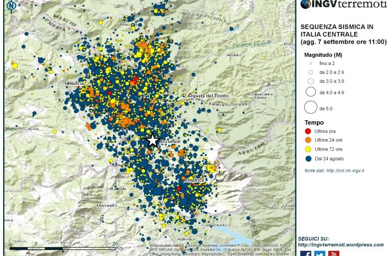 Sequenza sismica in Italia centrale: aggiornamento 7 settembre, ore 11:00