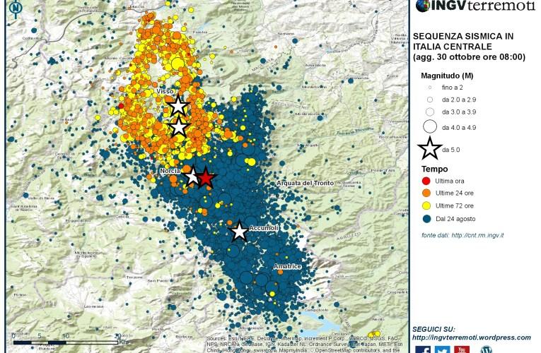 Sequenza sismica in Italia centrale: nuovo evento di magnitudo 6.5, 30 ottobre 2016, ore 07:40