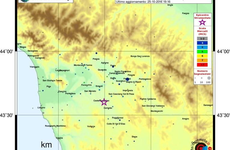 Terremoto M3.9 a Castelfiorentino (Firenze), 25 ottobre ore 18:53