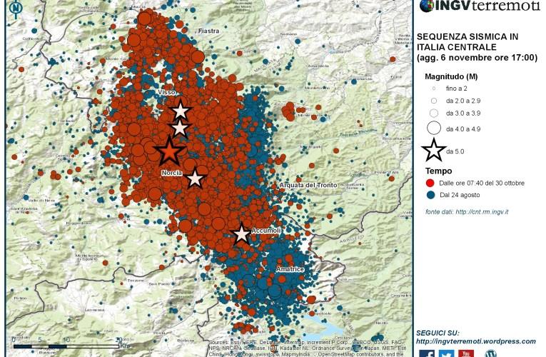 Sequenza sismica in Italia centrale: aggiornamento, 6 novembre ore 17.00