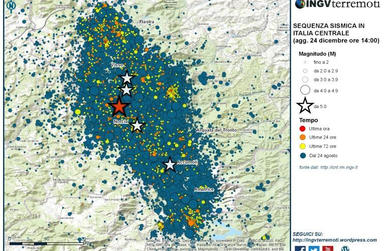 Sequenza sismica in Italia centrale: aggiornamento del 24 dicembre 2016