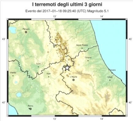 Evento sismico in provincia dell'Aquila, M 5.3, 18 gennaio 2017