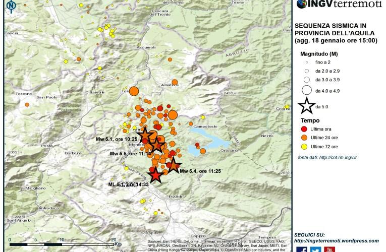 Aggiornamento eventi sismici in provincia dell'Aquila,18 gennaio 2017 ore 15:00