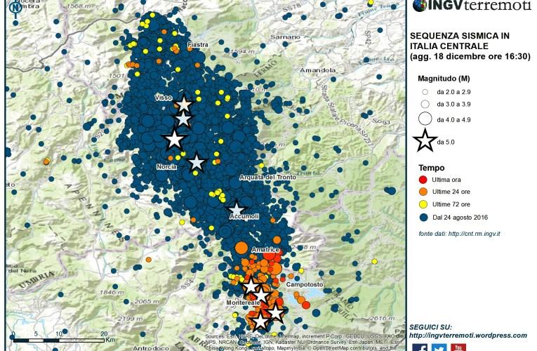 Aggiornamento eventi sismici in Italia centrale,18 gennaio 2017 ore 17:00