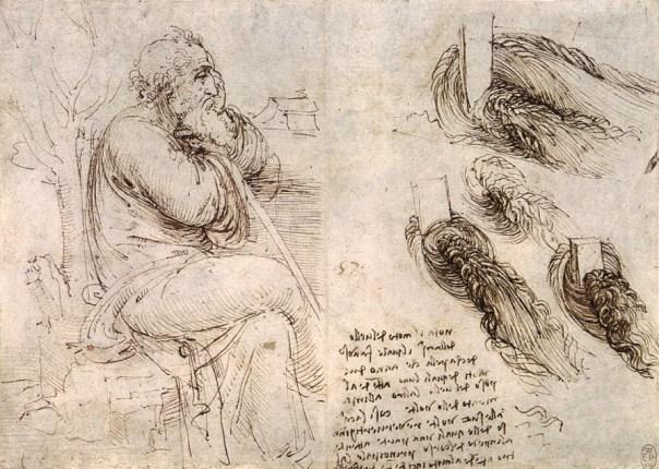 """Uomo seduto e vortici d'acqua, Leonardo da Vinci, Windsor, Royal Library, c. 1513. """"Acqua è fra i quattro elementi il secondo men greve e di seconda volubilità. Questa non ha mai requie insino che si congiunge al suo marittimo elemento [...]. Volentieri si leva per lo caldo in sottile vapore per l'aria. Il freddo la congela, stabilità la corrompe. [...] Piglia ogni odore, colore e sapore e da sé non ha niente.[...]"""". Parigi, Manoscritto C, f. 26v"""
