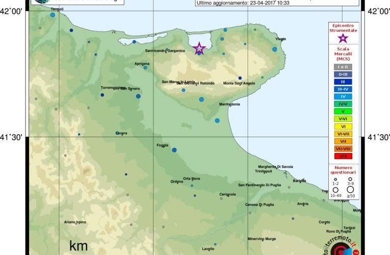 Evento sismico in provincia di Foggia, Ml 4.0, 23 aprile 2017