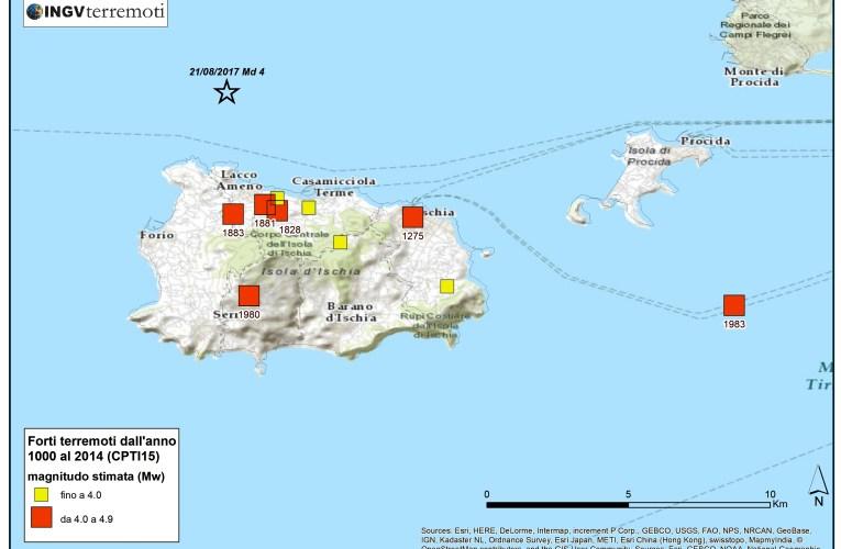 Aggiornamento evento sismico nei pressi dell'Isola di Ischia (NA), la sismicità storica dell'isola