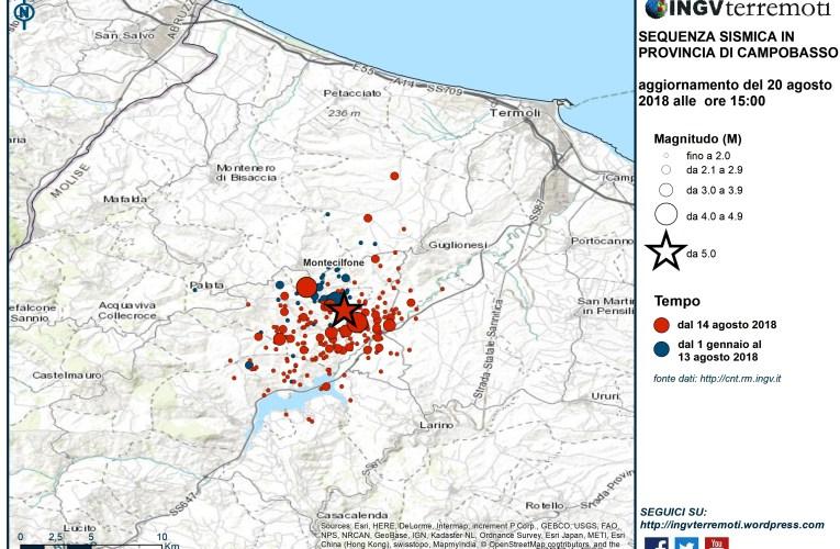 Aggiornamento sequenza sismica in provincia di Campobasso, 20 agosto 2018 ore 15:00