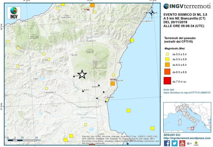 Sciame sismico sul versante occidentale dell'Etna – 20 novembre 2018