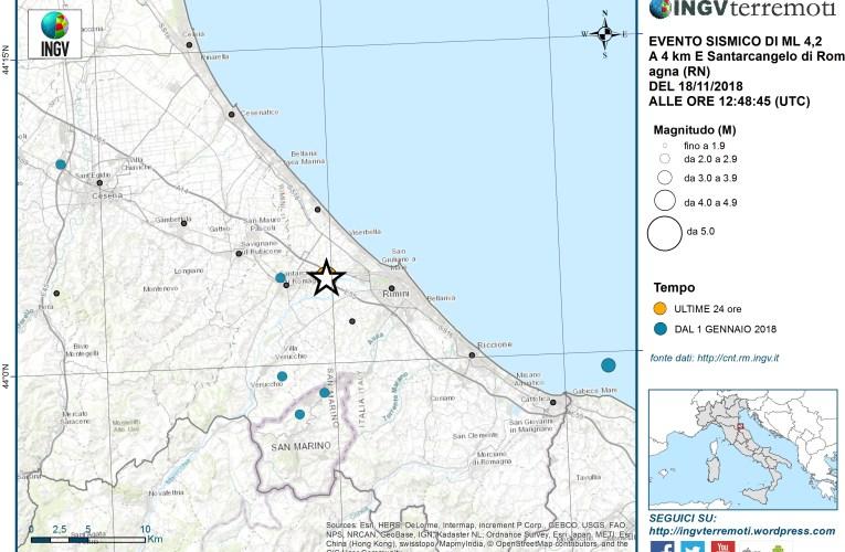 Evento sismico in provincia di Rimini, Ml 4.2 (Mw 4.0), 18 novembre 2018