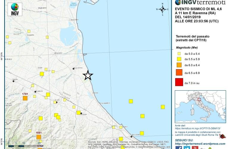 Evento sismico Ml 4.6 in provincia di Ravenna del 15 gennaio 2019