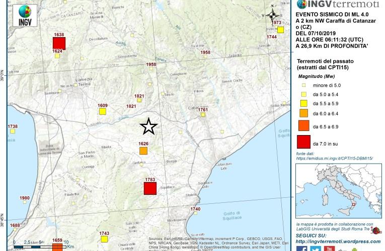 Evento sismico del 7 ottobre 2019, Ml 4.0 (Mw 4.0), in provincia di Catanzaro