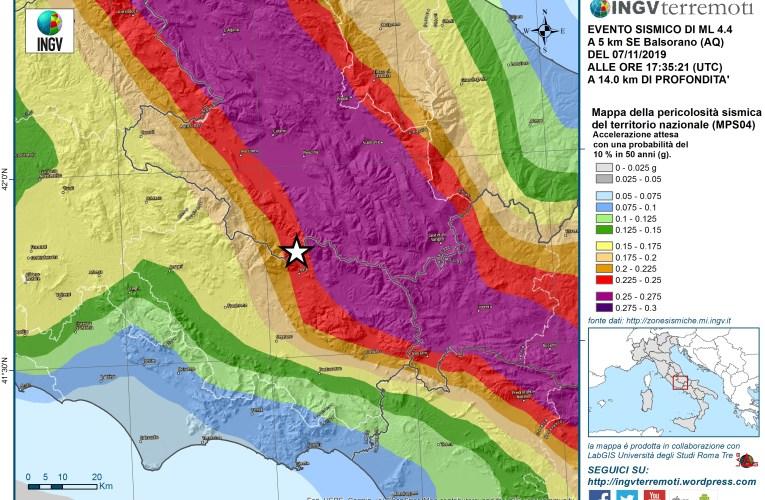 Evento sismico M4.4 al confine tra Lazio e Abruzzo (7 novembre ore 18:35)