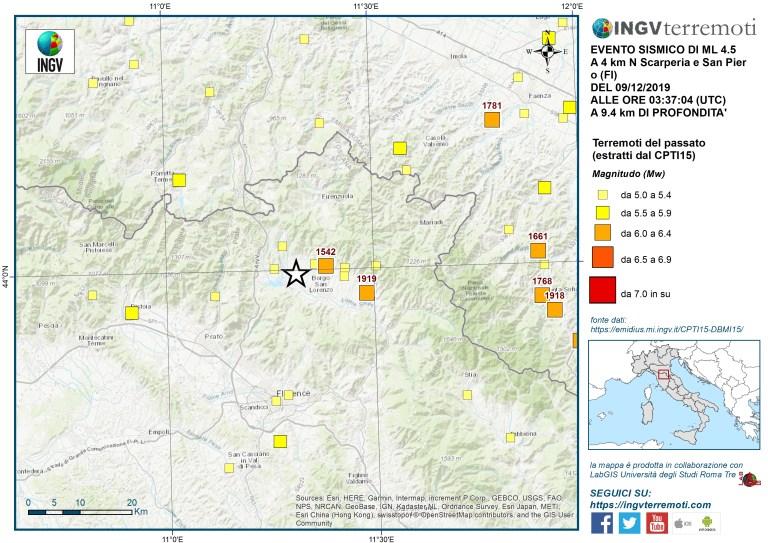 La sismicità storica nell'area estratta dal Catalogo Parametrico dei Terremoti Italiani