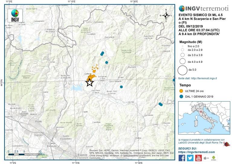 L'epicentro dell'evento sismico M 4,5 del 9 dicembre alle ore 04:37 italiane. In arancio gli eventi sismici delle ultime 24 ore.