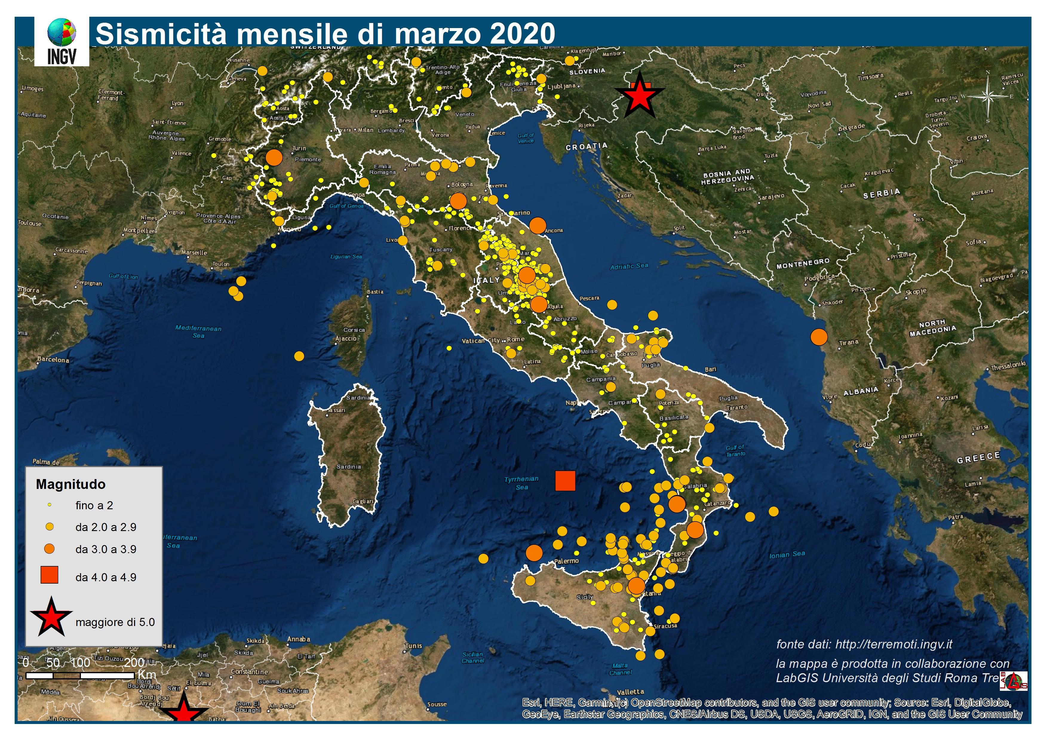 Cartina Italia Terremoti.Le Mappe Mensili Della Sismicita Marzo 2020 Ingvterremoti